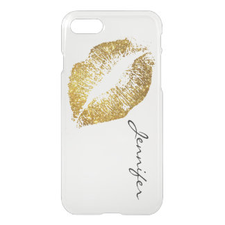 Gold Glitter Lips iPhone 7 Case
