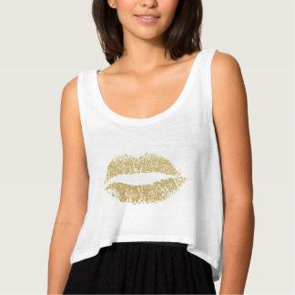 Gold Glitter Lips Kiss Tank Top