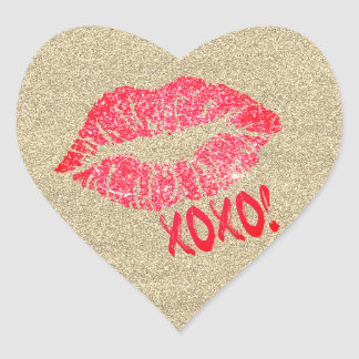 Gold Glitter Lips Kiss XOXO Heart Sticker