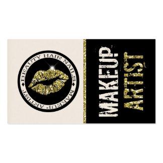 Gold Glitter Lips Makeup Artist : Business Card