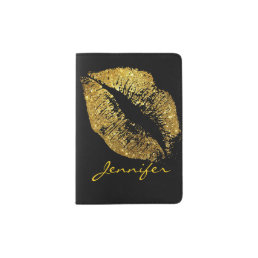 Gold Glitter Lips Passport Holder