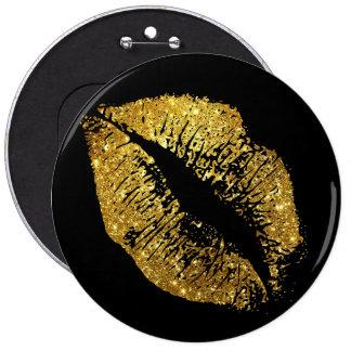 Gold Glitter Lips Pinback Button