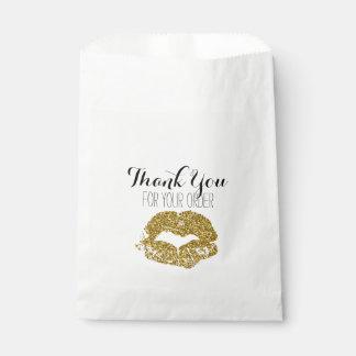 Gold Glitter Lips Thank You Bag