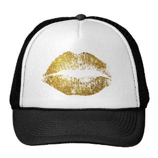 Gold Glitter Lips Trucker Hat
