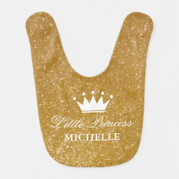 Gold glitter little princess crown baby bib design