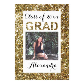 Gold Glitter-Look 1 Photo Graduation Party Card