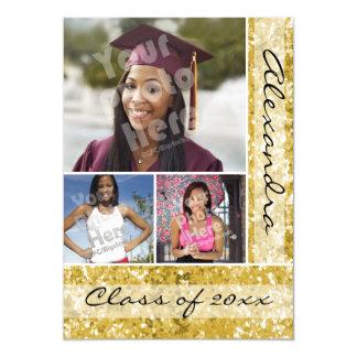 Gold Glitter-Look 3 Photo Graduation Card