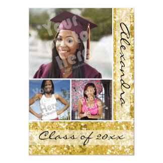 Gold Glitter-Look 3 Photo Graduation 5x7 Paper Invitation Card