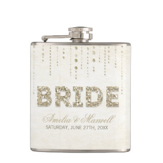 Gold Glitter Look Bride Flask