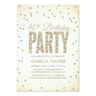 Gold Glitter Look Confetti 40th Birthday Party Card