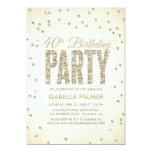 Gold Glitter Look Confetti 40th Birthday Party 5x7 Paper Invitation Card