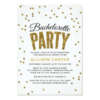 Gold Glitter Look Confetti Bachelorette Party Card