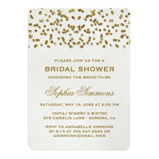 """Gold Glitter Look Confetti Bridal Shower Invite 5"""" X 7"""" Invitation Card"""
