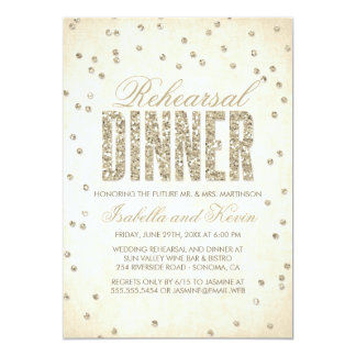 Gold Glitter Look Confetti Dots Rehearsal Dinner Card