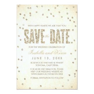 Gold Glitter Look Confetti Dots Save the Date Card