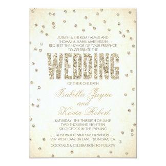 Gold Glitter Look Confetti Dots Wedding Invitation