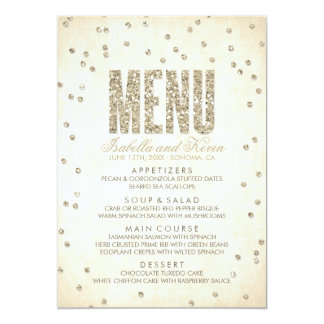 Gold Glitter Look Confetti Dots Wedding Menu Card