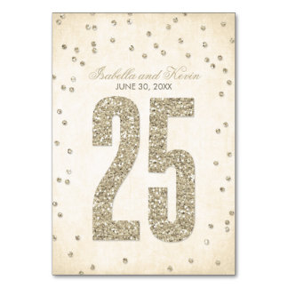 Gold Glitter Look Confetti Dots Wedding Table #25 Card