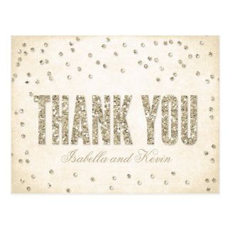 Gold Glitter Look Confetti Dots Wedding Thank You Postcard