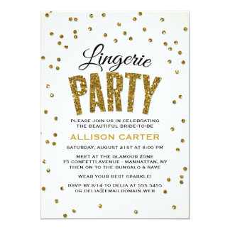 Gold Glitter Look Confetti Lingerie Party Card