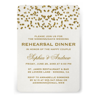Gold Glitter Look Confetti Rehearsal Dinner Invite