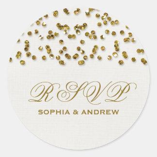 Gold Glitter Look Confetti RSVP Sticker