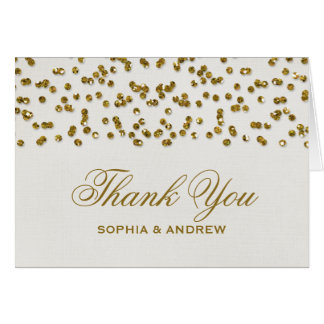 Gold Glitter Look Confetti Thank You Card