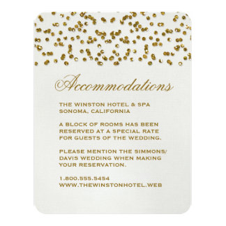 "Gold Glitter Look Confetti Wedding Insert Card 4.25"" X 5.5"" Invitation Card"