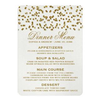 Gold Glitter Look Confetti Wedding Menu 5x7 Paper Invitation Card