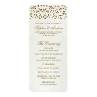 Gold Glitter Look Confetti Wedding Program 4x9.25 Paper Invitation Card