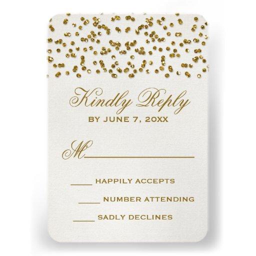 Gold Glitter Look Confetti Wedding RSVP Card
