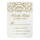 Gold Glitter Look Confetti Wedding RSVP Card Custom Invitations