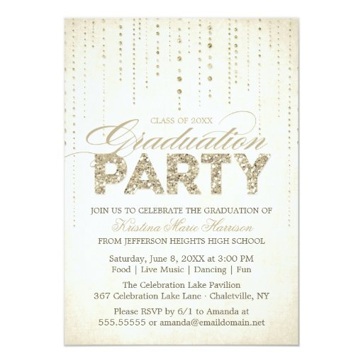 Gold Glitter Look Graduation Party Invitation