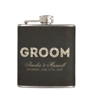Gold Glitter Look Groom Flask Flasks
