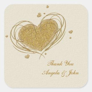 Gold Glitter-Look Heart Square Sticker