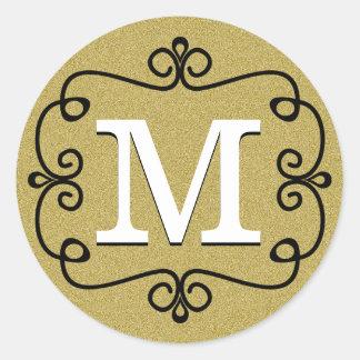 Gold Glitter Look Monogram Initial Classic Round Sticker