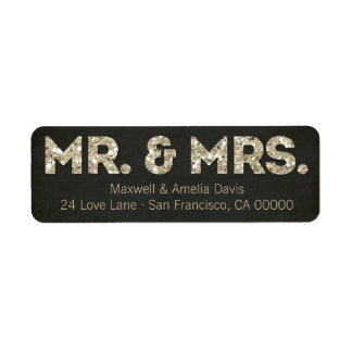 Gold Glitter Look Mr. & Mrs. Labels