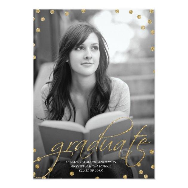 Gold Glitter Look Photo Graduation Invitation