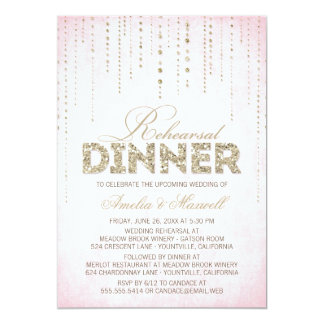 "Gold Glitter Look Rehearsal Dinner Invitation 5"" X 7"" Invitation Card"