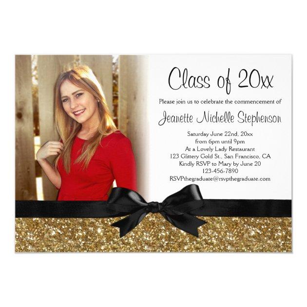Gold Glitter-look Ribbon Bow Photo Graduation 5x7 Paper Invitation Card
