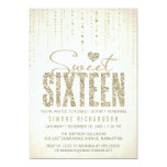 Gold Glitter Look Sweet 16 (Sixteen) Party 5x7 Paper Invitation Card