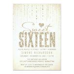 Gold Glitter Look Sweet 16 (Sixteen) Party Card