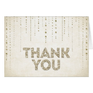 Gold Glitter Look Thank You Card