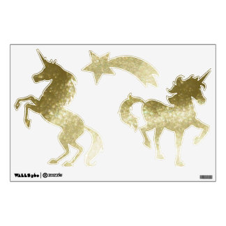 Gold Glitter Look Unicorns Wall Decal