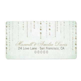 Gold Glitter Look Wedding Address Labels