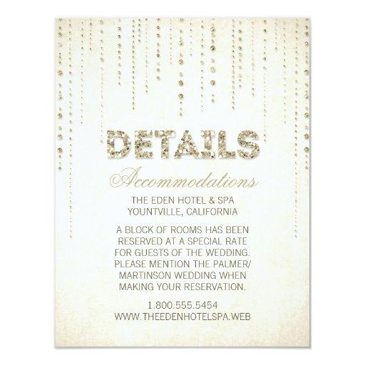 Gold Glitter Look Wedding Details Card 4.25u0026quot; X 5.5u0026quot; Invitation Card