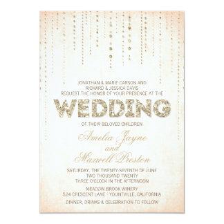 "Gold Glitter Look Wedding Invitation 5"" X 7"" Invitation Card"