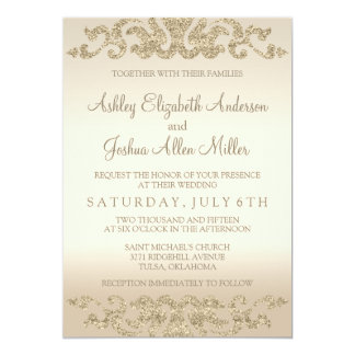 Gold Glitter Look Wedding Invitations