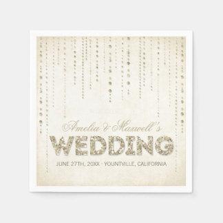 Gold Glitter Look Wedding Napkins Disposable Napkin