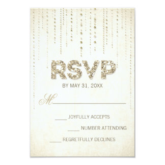Gold Glitter Look Wedding RSVP Card